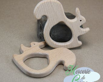 Natural shaped squirrel 2 wooden teething ring.