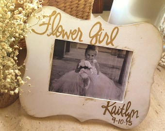 Flower Girl • Rustic Wood 5x7 Picture Photo Frame • Personalized w/ name & date • Vintage • Chic • Country Wedding Party • Flower Girl Gift