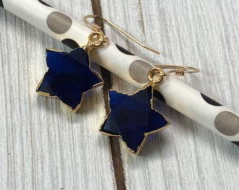 Sapphire Star Earrings Sapphire Earrings Dangle Earrings Small Dangle Earrings Earring Gifts Under 20 Gifts For Her Earrings For Her