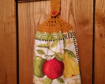 Double Sided Hand Crocheted Dish Hanging Towel. Apples. Fall. Vineyard.