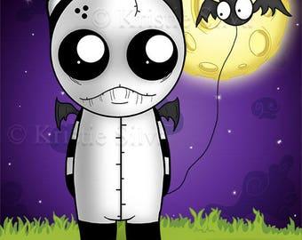 Midnight Bat Walk 8x10 digital art print by Kristie Silva bat voodoo doll monster creature