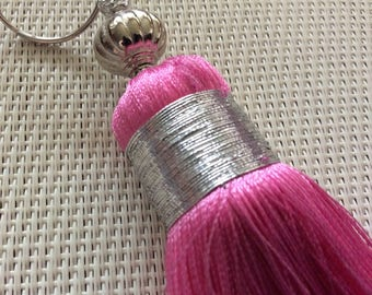 Large pink tassel made of silk