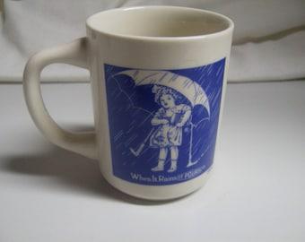 Vintage Morton Salt When It Rains It Pours Advertising Umbrella Girl Coffee Mug Cup 1968 Blue White