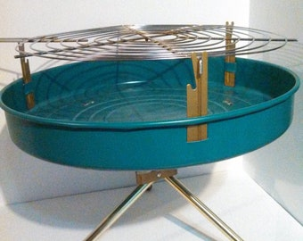 1950s Travel Grill / Table top grill / Camper trailer airstream size / Turquoise blue 50s / new in box