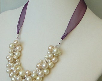 ON SALE BRIDEmaids Gift Dark PURPLE Ivory & CHAMpagne Pearl Cluster Bridal Mother Of Bride WEDDing Maid Of Honor Necklace
