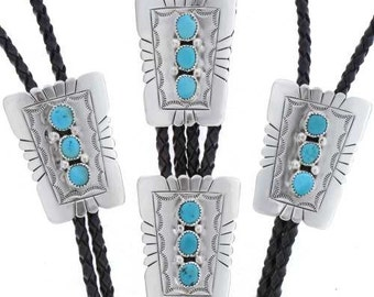 Navajo Made Bolo Tie Arizona Sleeping Beauty Turquoise