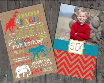 Jungle Birthday Invitations, Birthday Invitations, Safari Birthday Invitations, Photo Birthday , Zoo Birthday Invitations, Kraft Paper