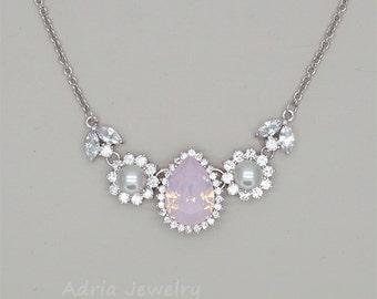 Blush Pink Necklace, Crystal Teardrop Necklace, Pink Opal Necklace, Silver Bridesmaid Necklace, Swarovski Crystal Necklace, Bridesmaid Gifts