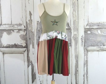 Sale Upcycled  Camo Tunic Top Summer Tank Top Boho Chic Hippy Style Women's Top