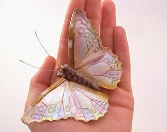 White Morpho Leather Butterfly Brooch