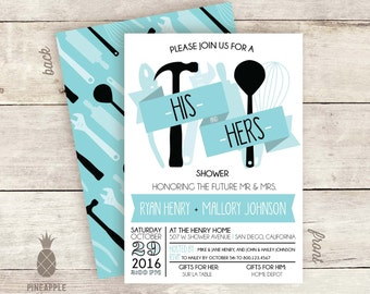 His & Hers Couples Shower Invitations