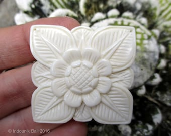 Abadi Balinese Architectural Flower Large Carved Bone Double Drilled Pendant Bead 40mm