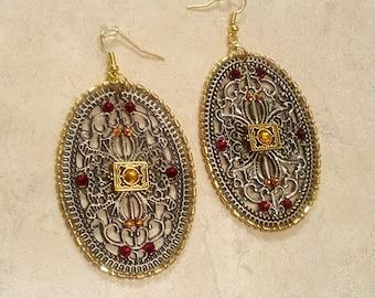 Art Nouveau Fashion Earrings Oval Antique Silver Filigree Women's Jewelry & Accessories- COUNTESS RUBY AZALEA