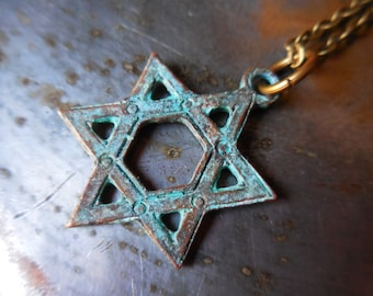 Star of David necklace large rustic Magen David pendant Hebrew Jewelry for men women blue green patina Judaica Judaism Jewish copper brass