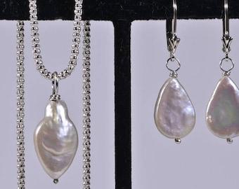 Pearl Necklace Pearl Earrings Freshwater Pearl Jewelry