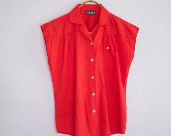 Vintage 1980's Red Cap Sleeve Camp Shirt M/L