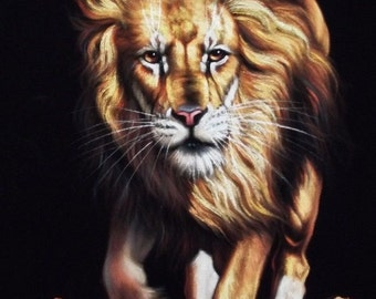 Lion black velvet oil painting handpainted signed art
