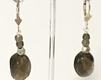 Smoky Quartz Dangle Earrings 925 Sterling Silver gw16-432
