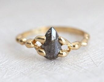 Pear Rose Cut Diamond Ring, Raw Gold Engagement Ring with Pear Cut Diamond, Grey Diamond Ring in 14k Yellow Gold, Handmade Engagement Ring