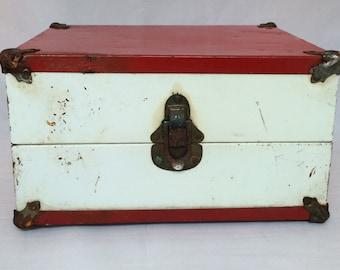 Vintage 1950's Doll Trunk-Metal-9 1/2 x 7 x 5 1/2--Wood Frame Original Hardware