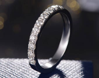 Moissanite Wedding Band Women White Gold Stacking Ring Forever One Brilliant Half Eternity Matching Simple Minimalist Engraving Bridal