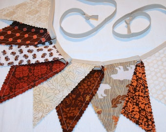 Thanksgiving Pennant Bunting, Fall Decoration, Woodland Bunting - orange brown cream - 9 double sided flags, deer bear acorns pumpkins
