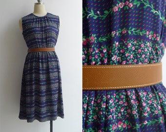 Vintage 80's 'Rose Garden' Striped Crew Neck Day Dress M or L