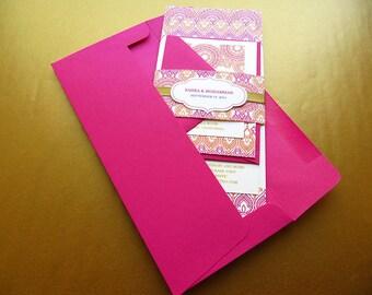 Indian Wedding Invitation. Henna Mehndi Invitation. Hindu Wedding Invitation. Moroccan theme Wedding. Pink and Gold Invitation – SAMPLE
