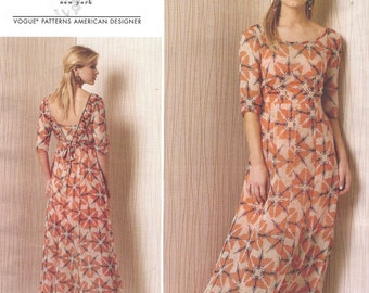 Tracy Reese Womens Boho Summer Dress Maxi Length Vogue Sewing Pattern V1502 Size 14 16 18 20 22 Bust 36 38 40 42 44 UnCut