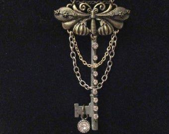 Steampunk Moth Key Necklace