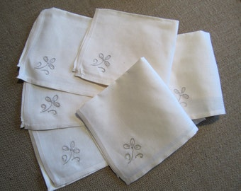 Embroidered ivory linen napkins set of 6