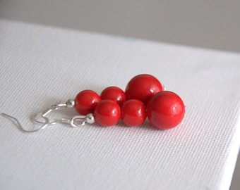 Red coral dangle drop earrings Valentine gift for her Gemstone earrings Round Beads beaded earrings jewelry jewellery Birthday gift for her