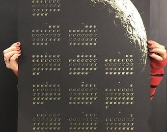 SALE! Modern 2018 Lunar Phases Calendar Moon Phases Calendar Poster SALE!