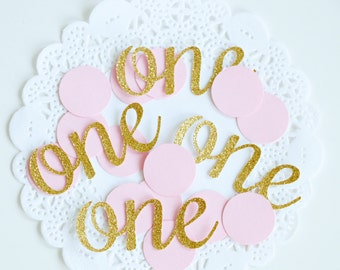 1st Birthday Party Confetti, Pink and Gold Confetti, Glitter Confetti, Silver Baby Shower, Baby Girl Gift, Princess Birthday Party