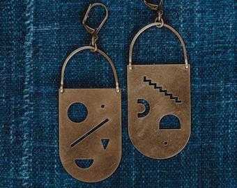 Kandinsky Brass Shield Earrings