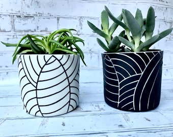 Carved leaf planters - made to order - black and white ceramic planter - succulent planters - small planter - modern - minimalist