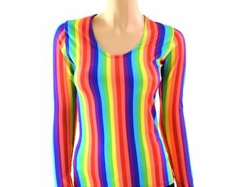 Bright Rainbow Stripe Long Sleeve Scoop Neck Full Length Spandex Top - 154002