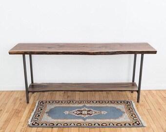 Live Edge Entryway Table | Black Walnut Sofa Table | Mid Century Modern Console |Scandinavian Style | Contemporary Rustic Wood Slab