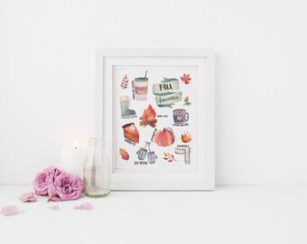 Printable Wall Art - Fall Favorites, Fall Print, Wall Decor, Pumpkins, Autumn Decor, Fall Print, Autumn Print, Fall Decor, Fall Essential