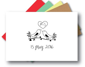 Save the Date Love Bird Stamp, Wedding Stamp, Engagement Stamp, Love Birds   MS-S7