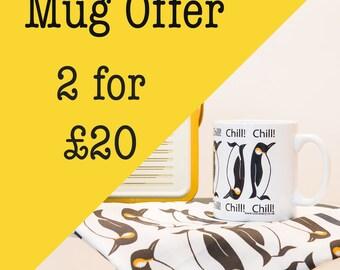 Mug Offer - two for twenty pounds - selected mugs - animal mug - sale - badger - bird - bird mug - ceramic mug - woodland animal
