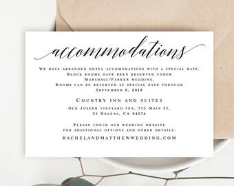 Hotel Accommodations Etsy - Wedding invitation templates: hotel accommodations template for wedding invitations