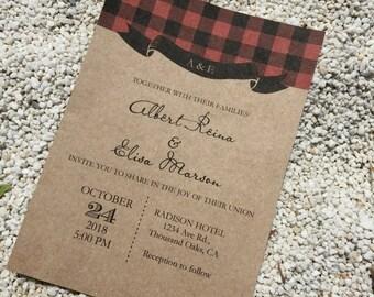 Rustic winter wedding invitation suite template, Lumberjack Wedding Invite, Digital PDF, personalised simple wedding invitation