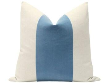 PANEL : Signature Velvet // Country Blue COVER ONLY | color block | banded velvet pillow | velvet pillow | linen + blue velvet pillow |
