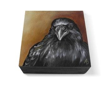 Autumn Crow art block - corvus corax painting - black bird painting - dark fairytale crow - corvidae - raven art - dark wings dark words
