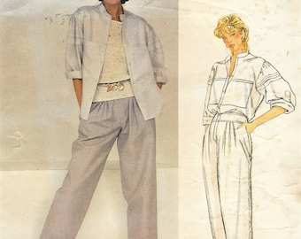 80s Adri Womens Button Front Top and Pleated Front Pants Perfect for Linen Vogue Sewing Pattern 1151 Size 10 Bust 32 1/2 FF Vintage Vogue