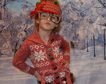 Kids size 5, Ugly Christmas Sweater, button up, ugly sweater party, girls, for a 5 year old