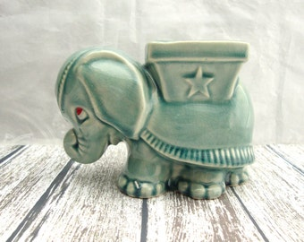 Vintage Elephant Planter,  Indian Elephant Planter, Vintage Aqua Blue Elephant Planter,