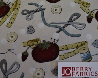 Sewing Room by Kathi Cambell for Henry Glass Fabrics, Quilt or Craft Fabric, Fabric by the Yard.