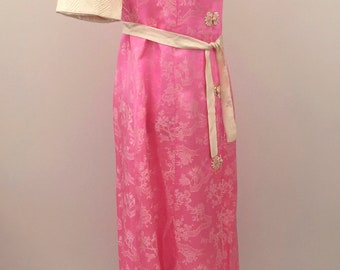 1930s pink silk robe dressing gown with landscape scenes and cats vintage antique